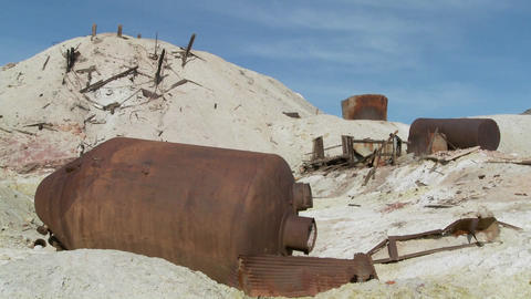 An abandoned sulfur mine in Death Valley Stock Video Footage