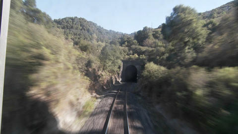 Exciting POV shot point of view of a train down tracks... Stock Video Footage