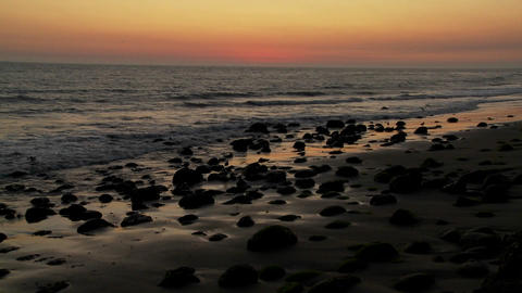 A beautiful sunset behind the California coastline Stock Video Footage