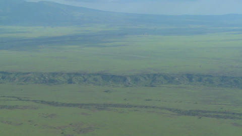 An aerial shot over the Olduvai Gorge in Tanzania, Africa Stock Video Footage