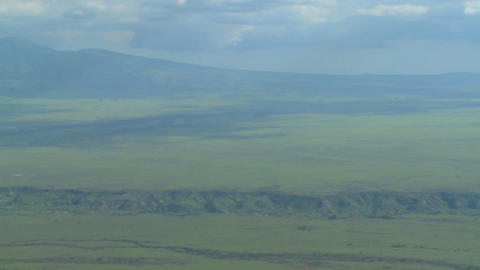 An aerial shot over the Olduvai Gorge in Tanzania, Africa Footage