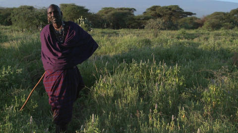 A Masai warrior stands in front of Mt. Kilimanjaro in... Stock Video Footage