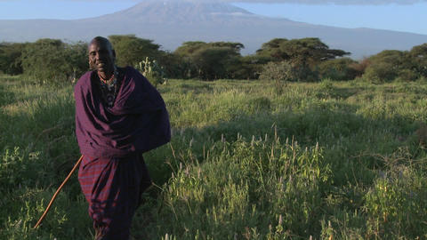 A Masai warrior stands in front of Mt. Kilimanjaro in Tanzania, East Africa at dawn Footage