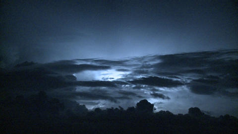 Spectacular lightning strikes and thunder in the night sky Stock Video Footage