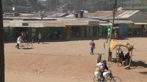 Bicycles are used to move groceries and other goods in Maralal town northern Kenya Footage