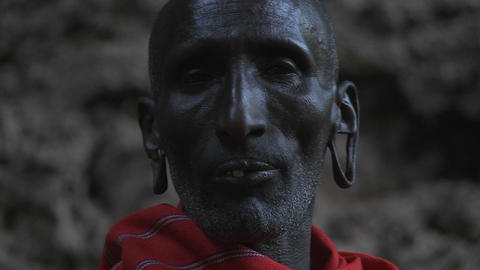 Old Masai warrior face Stock Video Footage
