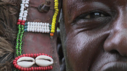 An extreme close up of a Masai warrior in full headdress... Stock Video Footage