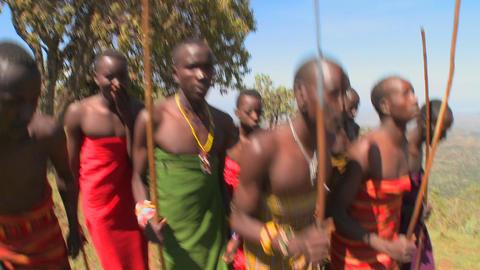 Masai warriors perform a ritual dance in Kenya, Africa Footage