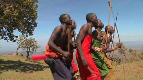 Masai warriors perform a ritual dance in Kenya, Africa Footage