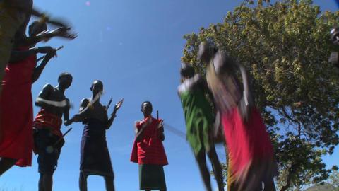 Masai warriors perform a ritual dance in Kenya, Africa Stock Video Footage