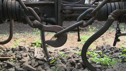 An old coupler on a steam train from a bygone era Stock Video Footage