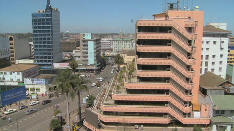 Pan across Nairobi buildings, offices and streets Stock Video Footage