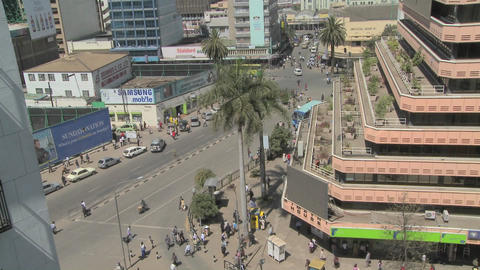 A street and office building view of downtown Nairobi, Kenya Footage