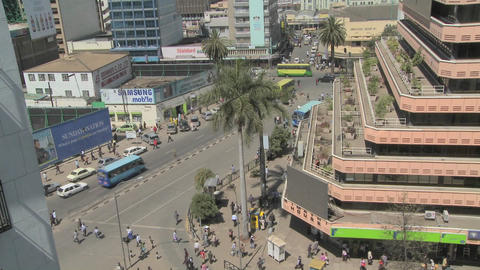 A street and office building view of downtown Nairobi, Kenya Stock Video Footage