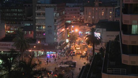 A night view of the streets of Nairobi, Kenya Stock Video Footage