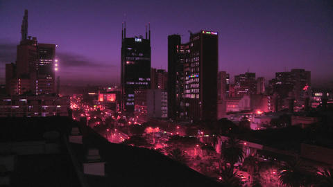 The skyline of Nairobi, Kenya at night Footage