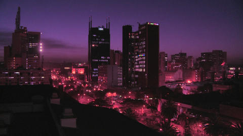 The skyline of Nairobi, Kenya at night Stock Video Footage