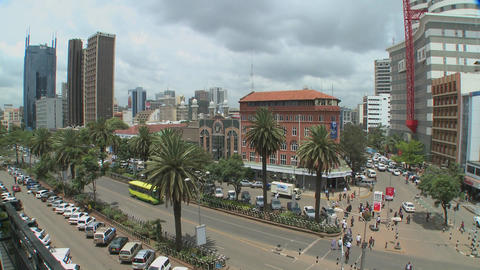Wide shot of downtown Nairobi Kenya with traffic and... Stock Video Footage