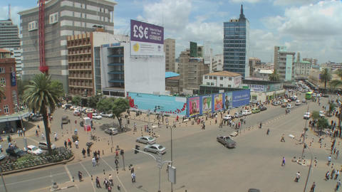 Wide angle view of busy streets in Nairobi, Kenya Stock Video Footage