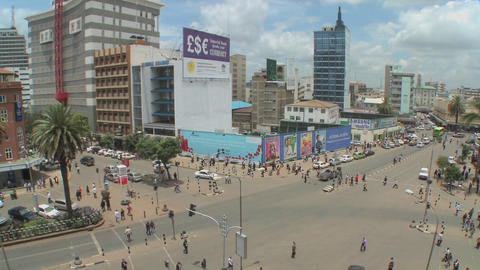 Wide angle view of busy streets in Nairobi, Kenya Footage