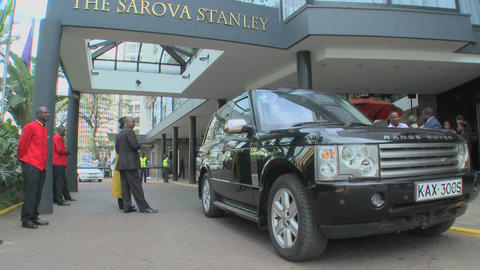 Exterior of the Sarova Stanley Hotel in downtown Nairobi, Kenya Footage