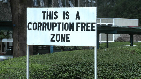 A sign at the University of Nairobi in Kenya proclaims a corruption free zone Footage