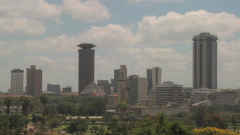 Establishing shot of the skyline of Nairobi, Kenya Stock Video Footage