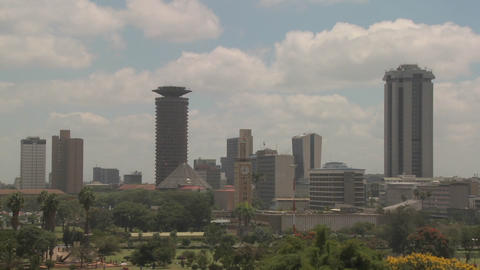 Establishing shot of the skyline of Nairobi, Kenya Stock Video Footage