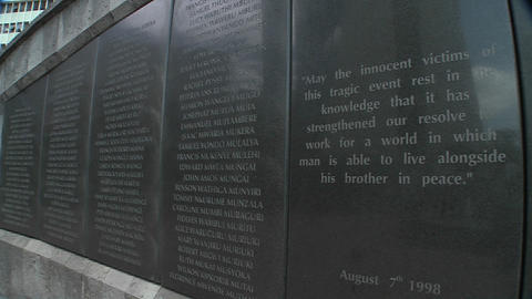 Names on a memorial honor the victims of the 1998 bombing of the US Embassy in Nairobi Kenya Footage