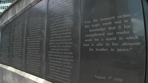 Names on a memorial honor the victims of the 1998 bombing... Stock Video Footage