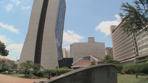 Tilt down to 1998 bombing site in Nairobi Kenya where... Stock Video Footage