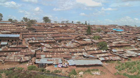 An overview of a slum in Kenya Stock Video Footage