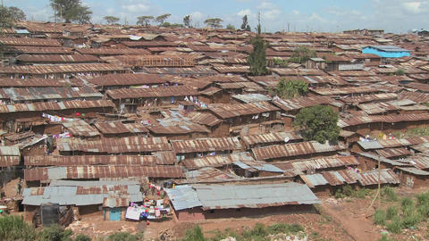 View over a slum area in Nairobi, Kenya Stock Video Footage