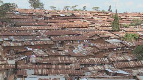 View over a slum region in Nairobi, Kenya Stock Video Footage