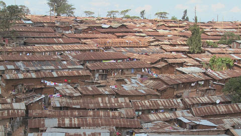 View over a slum region in Nairobi, Kenya Stock Video Footage