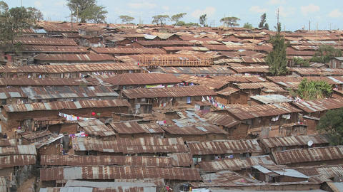 View over a slum region in Nairobi, Kenya Footage