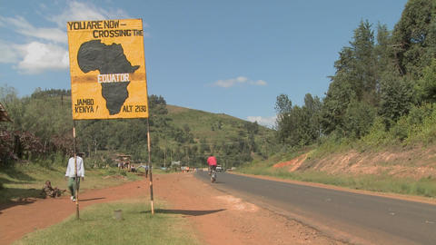 A sign marks the equator line in Kenya, Africa Stock Video Footage