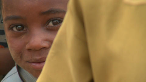 A cute face of a young boy in Africa Footage