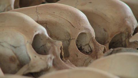 Close up of skulls on display in a church dedicated to... Stock Video Footage