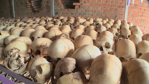 Slow pan across hundreds of skulls in a display in a... Stock Video Footage