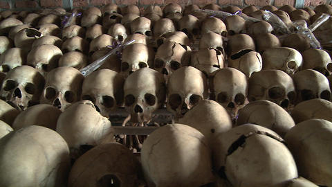 Thousands of skulls in long rows remember the genocide in... Stock Video Footage