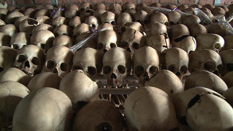 Thousands of skulls in long rows remember the genocide in Rwanda Footage