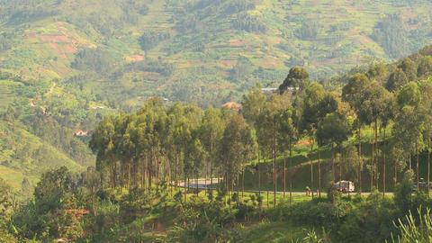 Minibus and minivan travel a steep mountain road in Rwanda Stock Video Footage