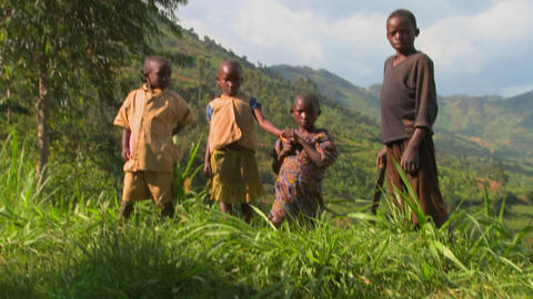 Rwanda children stand in farm fields Footage