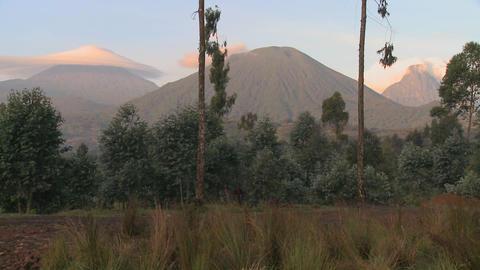A wide shot of the Virunga volcano chain on the Rwanda... Stock Video Footage