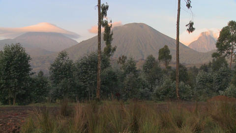 A wide shot of the Virunga volcano chain on the Rwanda... Stock Video Footage