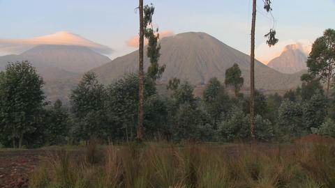 A wide shot of the Virunga volcano chain on the Rwanda Congo border Footage