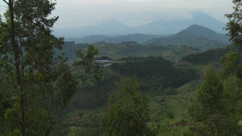 Slow pan across the lush landscapes surrounding the Virunga volcanos on the Congo Rwanda border Footage