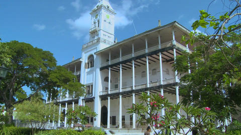 An old colonial building in Stone Town, Zanzibar Stock Video Footage