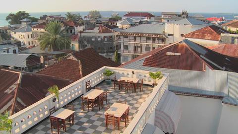 An overview establishing shot of Stonetown, Zanzibar Stock Video Footage